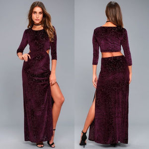 Lulu's Velvet Burnout Cut-Out Maxi Dress